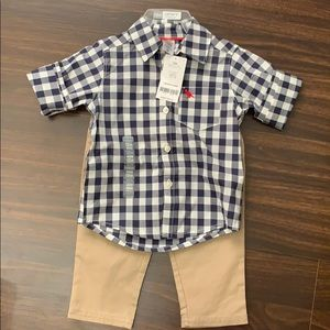 Carters 2 piece matching set plaid 12 month NWT